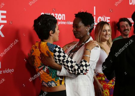 "Roberta Colindrez, left, and Lily Mojekwu arrive at the Los Angeles premiere of ""I Love Dick"" Season One at the Linwood Dunn Theatre on"
