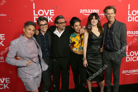 "Jill Soloway, from left, Sarah Gubbins, Griffin Dunne, Roberta Colindrez, Kathryn Hahn and Kevin Bacon arrive at the Los Angeles premiere of ""I Love Dick"" Season One at the Linwood Dunn Theater on"