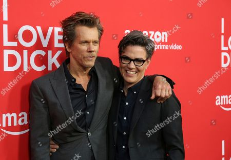 "Kevin Bacon, left, and Sarah Gubbins arrive at the Los Angeles premiere of ""I Love Dick"" Season One at the Linwood Dunn Theatre on"