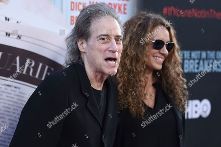 "Stock Photo of Richard Lewis, left, and Joyce Lapinsky attend the LA Premiere of ""If You're Not In The Obit, Eat Breakfast"" at the Samuel Goldwyn Theater, in Beverly Hills, Calif"
