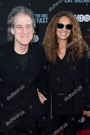 "Stock Image of Richard Lewis, left, and Joyce Lapinsky attend the LA Premiere of ""If You're Not In The Obit, Eat Breakfast"" at the Samuel Goldwyn Theater, in Beverly Hills, Calif"