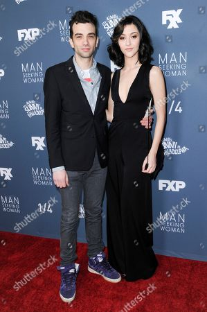 "Jay Baruchel, left, and Katie Findlay attend the season 3 premiere of ""Man Seeking Woman"", in Los Angeles"
