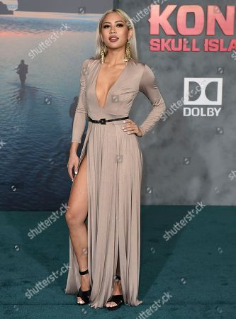 """Amy Pham arrives at the Los Angeles premiere of """"Kong: Skull Island"""" at the Dolby Theatre on"""