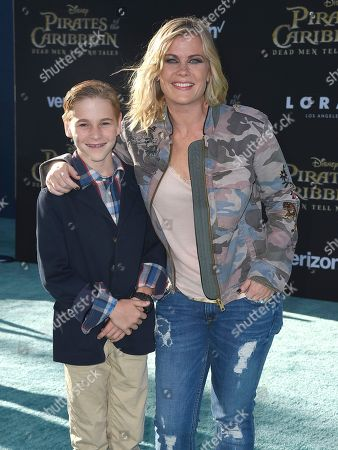"""Alison Sweeney, right, and her son Benjamin Sanov arrive at the Los Angeles premiere of """"Pirates of the Caribbean: Dead Men Tell No Tales"""" at the Dolby Theatre on"""