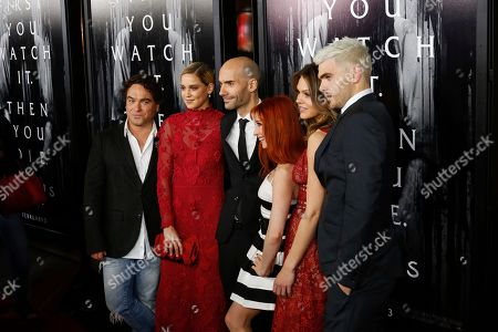 """Johnny Galecki, from left, Matilda Lutz, F. Javier Gutierrez, Bonnie Morgan, Alex Roe, and Aimee Teegarden arrive at the LA Premiere of """"Rings"""" at the Regal LA LIVE Stadium 14, in Los Angeles"""