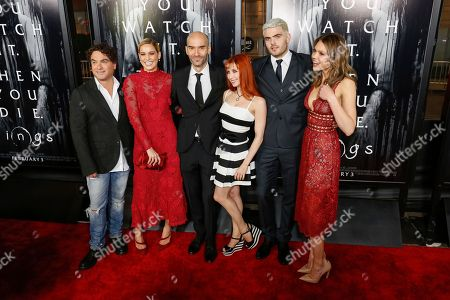 "Johnny Galecki, from left, Matilda Lutz, F. Javier Gutierrez, Bonnie Morgan, Alex Roe, and Aimee Teegarden arrive at the LA Premiere of ""Rings"" at the Regal LA LIVE Stadium 14, in Los Angeles"