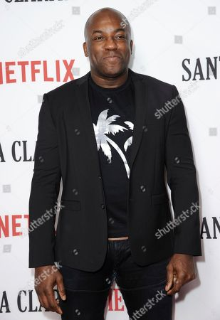 "DeObia Oparei arrives at the Los Angeles premiere of ""Santa Clarita Diet"" season one at the Cinerama Dome at ArcLight Hollywood on"
