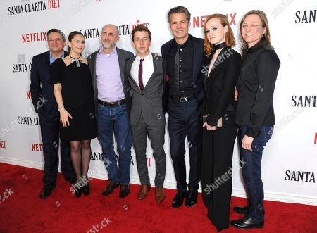 """Netflix CCO Ted Sarandos, from left, Drew Barrymore, Victor Fresco, Skyler Gisondo, Timothy Olyphant, Liv Hewson and Cindy Holland, VP, Original Series, Netflix arrives at the Los Angeles premiere of """"Santa Clarita Diet"""" season one at the Cinerama Dome at ArcLight Hollywood on"""