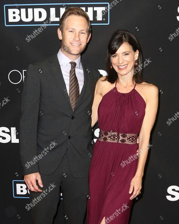 """Aaron Endress-Fox, left, and Perrey Reeves arrive at the Los Angeles premiere of """"Sleepless"""" at Regal L.A. Live on"""