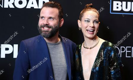 """Director Baran Odar, left, and Michelle Monaghan arrive at the Los Angeles premiere of """"Sleepless"""" at Regal L.A. Live on"""