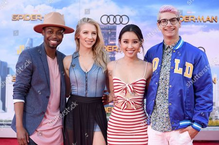 "Keith Leak Jr, from left, Courtney Miller, Olivia Sui and Noah Grossman arrive at the Los Angeles premiere of ""Spider-Man: Homecoming"" at the TCL Chinese Theatre on"