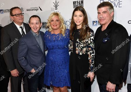 """Zac Reeder, head of domestic distribution, Electric Entertainment, from left, Richard Robichaux, producer Michelle Purple, Jessica Biel and Bryan Batt arrive at the Los Angeles premiere of """"The Book of Love"""" at Pacific Theatres at The Grove on"""