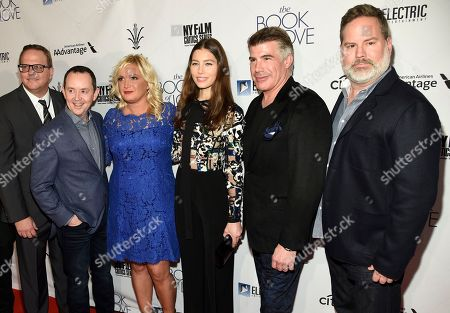 "Stock Photo of Zac Reeder, head of domestic distribution, Electric Entertainment, from left, Richard Robichaux, producer Michelle Purple, Jessica Biel, Bryan Batt and director Bill Purple arrive at the Los Angeles premiere of ""The Book of Love"" at Pacific Theatres at The Grove on"
