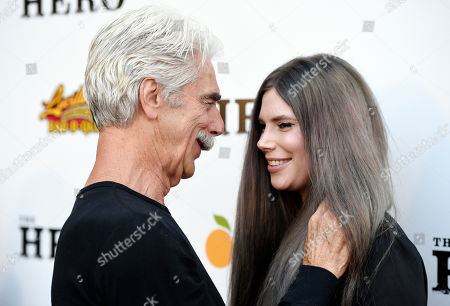 """Sam Elliott, star of """"The Hero,"""" mingles with his daughter Cleo Rose at the premiere of the film at the Egyptian Theatre, in Los Angeles"""