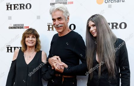 """Sam Elliott, center, star of """"The Hero,"""" arrives with his wife Katharine Ross, left, and their daughter Cleo Rose Elliott at the premiere of the film at the Egyptian Theatre, in Los Angeles"""