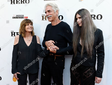 Sam Elliott, center, poses with his wife Katharine Ross and their daughter Cleo Rose at the premiere of the film at the Egyptian Theatre, in Los Angeles