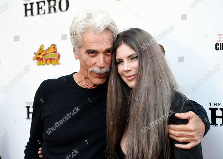"""Sam Elliott, star of """"The Hero,"""" poses with his daughter Cleo Rose at the premiere of the film at the Egyptian Theatre, in Los Angeles"""