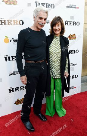 "Sam Elliott, left, star of ""The Hero,"" poses with actress Anne Archer at the premiere of the film at the Egyptian Theatre, in Los Angeles"