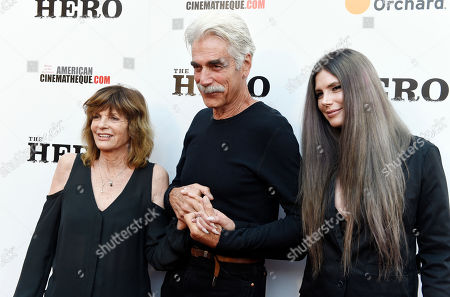 """Sam Elliott, star of """"The Hero,"""" poses with his wife Katharine Ross and their daughter Cleo Rose at the premiere of the film at the Egyptian Theatre, in Los Angeles"""