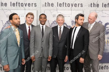 """Stock Picture of Kevin Carroll, from left, Chris Zylka, Jovan Adepo, Scott Glenn, Justin Theroux, and Michael Gaston arrive at the LA Premiere of """"The Leftovers"""" Season Three at Avalon Hollywood, in Los Angeles"""