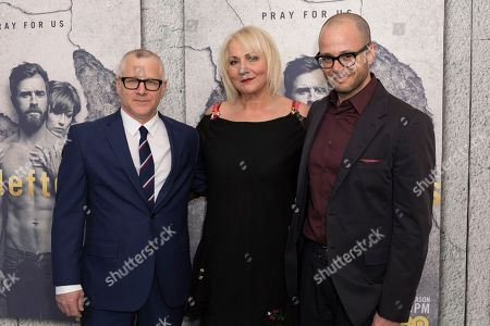 """Tom Perrotta, from left, Mimi Leder, and Damon Lindelof arrive at the LA Premiere of """"The Leftovers"""" Season Three at Avalon Hollywood, in Los Angeles"""