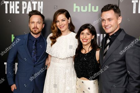 "Aaron Paul, from left, Michelle Monaghan, Jessica Goldberg, and Hugh Dancy arrive at the LA Premiere of ""The Path"" Season Two, in Los Angeles"