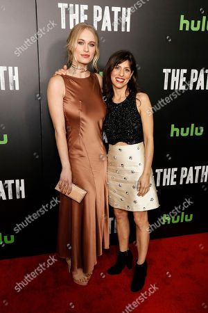 "Leven Rambin, left, and Jessica Goldberg arrive at the LA Premiere of ""The Path"" Season Two, in Los Angeles"