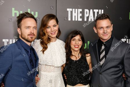 Aaron Paul, from left, Michelle Monaghan, Jessica Goldberg, and Hugh Dancy arrive at the LA Premiere of 'The Path' Season Two, in Los Angeles
