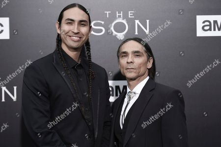 "Tatanka Means, left, and Zahn McClarnon attend the LA premiere of ""The Son"" Season One held at ArcLight Hollywood, in Los Angeles"