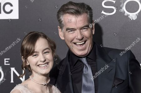 """Sydney Lucas, left, and Pierce Brosnan attend the LA premiere of """"The Son"""" Season One held at ArcLight Hollywood, in Los Angeles"""