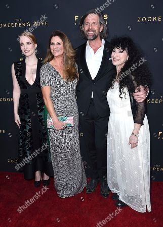 "Jessica Chastain, from left, Niki Caro, Johan Heldenbergh and Diane Ackerman arrive at the Los Angeles premiere of ""The Zookeeper's Wife"" at The ArcLight Hollywood on"