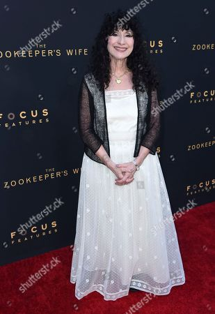 "Writer Diane Ackerman arrives at the Los Angeles premiere of ""The Zookeeper's Wife"" at The ArcLight Hollywood on"