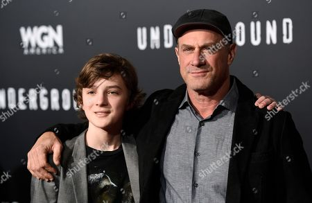 """Stock Photo of Toby Nichols, left, and Christopher Meloni, cast members in """"Underground,"""" pose together at the season two premiere of the television series, in Los Angeles"""