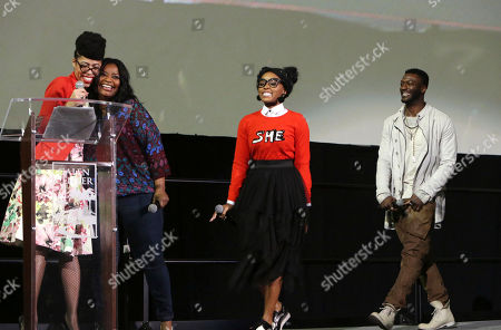 "Knatokie Ford, Senior Policy Advisor at The White House Office of Science and Technology Policy, Octavia Spencer, Janelle Monae and Aldis Hodge seen at LA Promise Fund ""Hidden Figures"" screening hosted by Girls Build LA at USC'S Galen Center, in Los Angeles"