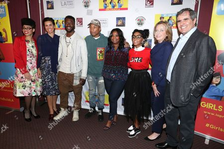 "Knatokie Ford, Senior Policy Advisor at The White House Office of Science and Technology Policy, Veronica Melvin, President and CEO of LA Promise Fund, Aldis Hodge, Pharrell Williams, Octavia Spencer, Janelle Monae, Megan Chernin, Board Co-Chair of the LA Promise Fund, and Peter Chernin, Chairman and CEO of The Chernin Group, seen at LA Promise Fund ""Hidden Figures"" screening hosted by Girls Build LA at USC'S Galen Center, in Los Angeles"