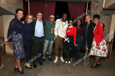 "Veronica Melvin, President and CEO of LA Promise Fund, Megan Chernin, Board Co-Chair of the LA Promise Fund, Peter Chernin, Chairman and CEO of The Chernin Group, Pharrell Williams, Aldis Hodge, Janelle Monae, Octavia Spencer, Executive Producer Mimi Valdes and Knatokie Ford, Senior Policy Advisor at The White House Office of Science and Technology Policy, seen at LA Promise Fund ""Hidden Figures"" screening hosted by Girls Build LA at USC'S Galen Center, in Los Angeles"