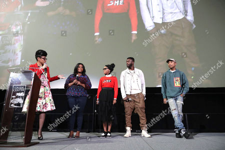 "Knatokie Ford, Senior Policy Advisor at The White House Office of Science and Technology Policy, Octavia Spencer, Janelle Monae, Aldis Hodge and Pharrell Williams speak at LA Promise Fund ""Hidden Figures"" screening hosted by Girls Build LA at USC'S Galen Center, in Los Angeles"