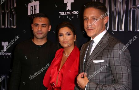 """Gabriel Chavarria, from left, Eva Longoria and Theo Rossi arrive at the Los Angeles Special Screening of """"Lowriders"""" at the L.A. Live on"""
