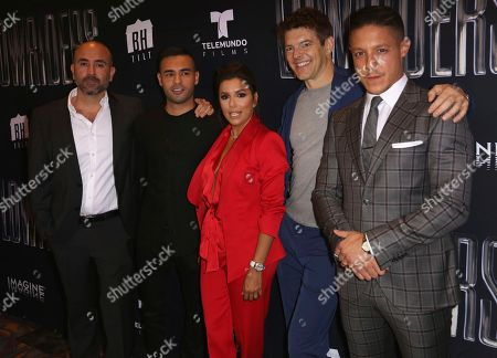 "Ricardo de Montreuil, from left, Gabriel Chavarria, Eva Longoria, Jason Blum and Theo Rossi arrive at the Los Angeles Special Screening of ""Lowriders"" at the L.A. Live on"