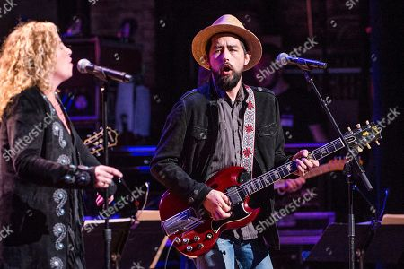 Amy Helm, left, and Jackie Greene perform during Love Rocks NYC! at the Beacon Theatre on in New York