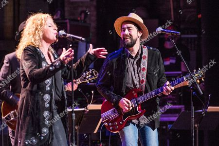 Stock Image of Amy Helm, left, and Jackie Greene perform during Love Rocks NYC! at the Beacon Theatre on in New York