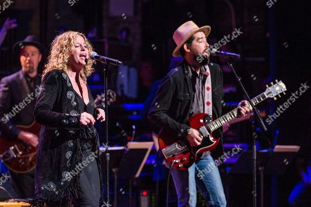 Stock Picture of Amy Helm, left, and Jackie Greene perform during Love Rocks NYC! at the Beacon Theatre on in New York