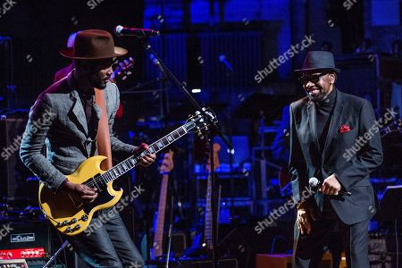 Gary Clark Jr., left, and William Bell perform at Love Rocks NYC!, a Benefit Concert for God's Love We Deliver, at the Beacon Theatre on in New York