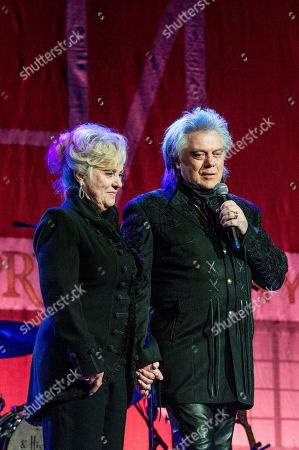 Connie Smith, left, and Marty Stuart perform during Marty Stuart's 16th Annual Late Night Jam at the Ryman Auditorium on in Nashville, Tenn