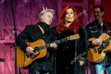 Marty Stuart, left, and Wynonna Judd perform during Marty Stuart's 16th Annual Late Night Jam at the Ryman Auditorium on in Nashville, Tenn