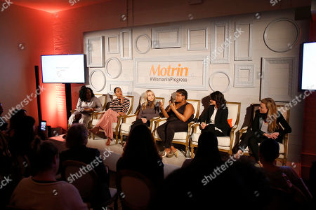 From left, Vivian Odior, Tracee Ellis Ross, Gabby Bernstein, Jessamyn Stanley, Ana Flores, and Tali Sharot joins MOTRIN® to launch the #WomanInProgress campaign at And & And, in New York. MOTRIN® #WomanInProgress celebrates women who have shifted their perspective on painful moments to enrich their personal growth