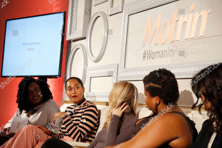 Stock Picture of From left, Vivian Odior, Tracee Ellis Ross, Gabby Bernstein, Jessamyn Stanley, Ana Flores, and Tali Sharot joins MOTRIN® to launch the #WomanInProgress campaign at And & And, in New York. MOTRIN® #WomanInProgress celebrates women who have shifted their perspective on painful moments to enrich their personal growth