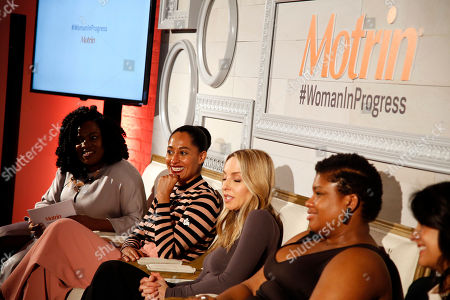 MOTRIN® launched the #WomanInProgress campaign at And & And, in New York featuring a panel of inspirational women, from left, Vivian Odior, Tracee Ellis Ross, Gabby Bernstein, Jessamyn Stanley, Ana Flores and Tali Sharot who led a conversation around how they have shifted their perspective on painful moments to enrich their personal growth