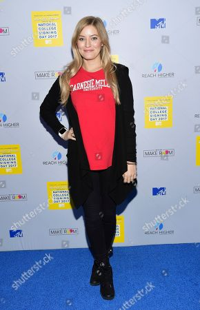 Stock Photo of Internet celebrity Justine Ezarik aka iJustine attends MTV's 2017 National College Signing Day at The Public Theater, in New York