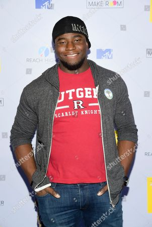 Okieriete Onaodowan attends MTV's 2017 National College Signing Day at The Public Theater, in New York